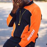 подтяжки оптовых-18FW SPM SPEEDWAY половина ZIP Color Matching свитер гоночный костюм ретро High Street мода Мужчины Женщины пара три цвета стенд воротник свитер