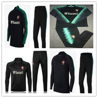 Wholesale football training clothing - 2018 World CupTop Thailand white soccer tracksuit 18-19 PORTUGA Training suit pants football training clothes sportswear mens Sweater