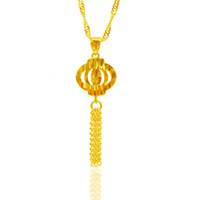 18kgp goldkette halskette großhandel-Neue Ankunft Hohe Qualität 18KGP hohlen Laterne Form + Quaste Halskette mit 45cm Twisted Singapur Kette Schmuck für Frauen