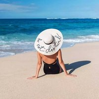 Wholesale white straw hats for girls for sale - Group buy 2018 new summer Big wide brim straw hat Do not disturb letter sequin embroidery beach hat girls sun hats for women S18101708