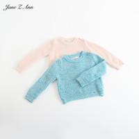 kleinkind mädchen wolle kleidung großhandel-Jane Z Ann Kinder Kleidung Jungen Mädchen gestrickte lange Ärmel Pullover Säugling Kleinkind Solid Colore Wolle warme Winterkleidung