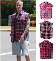 Wholesale West Side T Shirt - wholesale- Side split zipper Do old Scottish Plaid shirt sleeveless Men's T-Shirts leisure high street Justin bieber kanye west GD S-XL