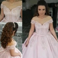Wholesale quinceanera split dress - Blush Pink Prom Dresses With Beading Sequins Off Shoulder Satin Evening Dress Capped Lace Appliques Lace Up Back Quinceanera Party Gowns