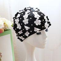 neuer mädchen blumenhut großhandel-3D-Blumen-Entwurfs-Frauen-Badekappe mit gefälschtem Perlen-Art-Art- und Weisekappen-Schwimmen-Gebrauch bunten einzigartigen Hüten für Mädchen neues 15hl ZZ