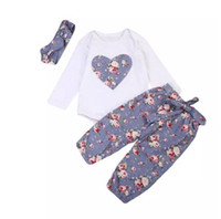 Wholesale purple heart clothes - Baby Girls Flower Clothing Boutique Cotton Romper+Pants+Headband 3Pcs Purple Outfits Set Clothes Floral Heart Kid Girl Toddler 0-24M B11