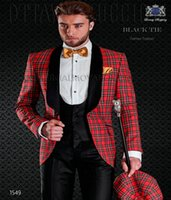 Wholesale Italian Suit 46 - 2018 New Italian Style Special Occasion Suit Red Plaid Dinner Groom Wear Groomsmen Slim Fit Men Wedding Suits Prom Party Tuxedos Bridegroom