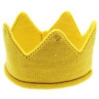 bebek örme taç toptan satış-Yeni Moda Sevimli Bebek Şapka Erkek Kız Taç Örgü Kafa Bandı Doğum Günü için Şeker Renk Şapka Chapéu Vintage # 7919