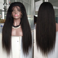 Wholesale brazilian lace wigs 28 inch resale online - 28 inch natural color heavy density coarse yaki hair full lace wig beautifull kinky straight virgin hair lace front wig for sale