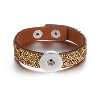 jóias pedras intercambiáveis venda por atacado-Atacado 18mm pulseira de pedra de couro com strass Botão Snap Pulseira Intercambiáveis Snap Jóias