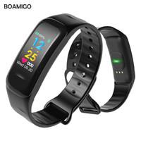 reloj de la marca boamigo al por mayor-BOAMIGO Marca Reloj Inteligente Moda Pulsera Inteligente Pantalla a Color Recordatorio de Mensaje de Llamadas Calor Podómetro Bluetooth para IOS Android Y1892507