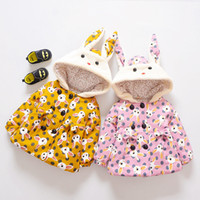 Wholesale girls winter parkas - baby girl jackets parkas clothes winter cartoon rabbit hooded warm outerwear infant toddler thermal clothing parka B11