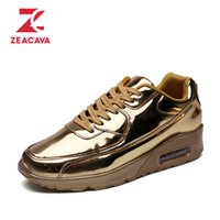 Wholesale glossy rubber - Z 2017 Brand Superstar Men Casual Shoes Air mesh Glossy Gold Walking Fashion Outdoor Breathable Durable Wedges Platform Shoes