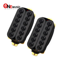 Wholesale black guitar humbucker resale online - A Set Adjustable Metal Double Coil Electric Guitar Pickups Humbucker Punk Black