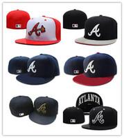 ingrosso i cappelli da baseball di sport di squadra-New Design Cappellino aderente cappellino cappello Atlanta Cappellino Team Baseball ricamato Cappellino piatto Cappellino Baseball Marca