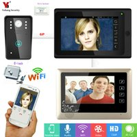 Wholesale Wired Video Intercom Doorbell Systems - Yobang Security 7inch 2 monitors Wired   Wireless Wifi IP Video Door Phone Doorbell Video intercom Entry System Electric control