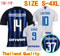 81a69e76f Thai Quality Inter Home Away Soccer Jerseys 2018 2019 PERISIC ICARDI  BROZOVIC NAINGGOLAN CANDREVA Milan Football Shirts Plus Size Uniform