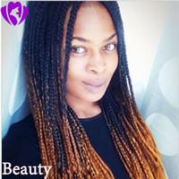 perruques de dentelle brésilienne de haute qualité achat en gros de-Haute qualité ombre brune couleur tresse perruque sans colle brésilienne complète Lace Front perruques résistante à la chaleur Box tresses pour les femmes noires