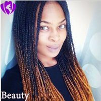 Wholesale blue wig high quality for sale - Group buy High quality ombre brown color braid wig Glueless brazilian full Lace Front Wigs heat resistatant Box Braids For Black Women