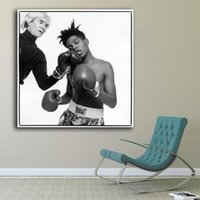 Wholesale Photo Prints Poster - Andy Warhol and Jean-Michel Basquiat Photo Paiting Home Decor On Canvas Modern Wall Art Canvas Print Poster Painting