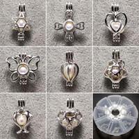 25mm gümüş bilezik toptan satış-100% 925 Ayar Gümüş Inci Madalyon Kafesleri Inci Kolye DIY Bilezikler Kolye 15 * 25mm 24 Stilleri Moda Takı Düğün Hediyesi