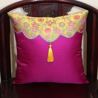 Wholesale handmade chairs resale online - Handmade Tassel Vintage Chinese Silk Cushion Cover Sofa Chair Decorative Cushions Office Home Lumbar Pillow Patchwork Satin PillowCase