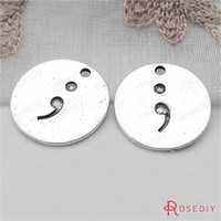 Wholesale Metal Charms Pendants Circles - (31690)10PCS 23MM Antique Silver Zinc Alloy Semicolon Round Letter Charms Pendants Diy Jewelry Findings Accessories wholesale