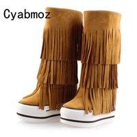 модные ботинки лифта оптовых-Newest suede  boots Women Genuine Leather tassel height increasing 13cm elevator boots Top quality fashion platform shoes
