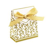 çiçek şeker lüks hediye kutusu toptan satış-50 adet Çiçek Şerit Lüks Şeker Kutusu Düğün Için Kağıt Şeker Çanta Hediye Süslemeleri Düğün