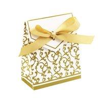décoration de mariage achat en gros de-50pcs Fleur Ruban De Luxe Boîte De Bonbons Papier De Mariage Sacs De Bonbons Décorations Pour Cadeaux De Mariage