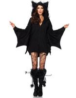 tv socken großhandel-Balck Evil Vampir Bat Kostüm Frauen Halloween Schwarze Socken