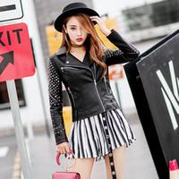 ceket kat giyimi korece toptan satış-2018 yeni perçinleme lokomotifler Pu kürk ceket kadın kısa ceket Kore moda elbise deri ceket Kore versiyonu
