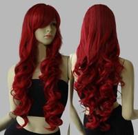 костюмы красные парики оптовых-Длинные Волнистые Костюм Партии Косплей Парик Темно-Красный 80 См Синтетические Парики Волос