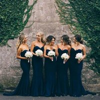 juniors long lacivert elbise toptan satış-Ucuz Mermaid Lacivert Gelinlik Modelleri Sevgiliye Uzun Genç Nedime Elbiseler 2018 Hizmetçi Düğün Için Onur Elbise