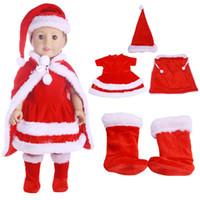bebek kızı elbise kırmızı toptan satış-2018 18 Inç Amerikan Kız Bebek Giysileri Kırmızı Noel Elbise Suit Bebek Doğan Bebek Aksesuarları Noel Hediyesi