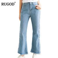 Wholesale Jeans Loose Legs For Women - RUGOD 2018 New Button Wide Leg Pants Jeans Women Vintage Blue Tassel Denim Pants Boyfriend Jeans for Women Loose Cowboy