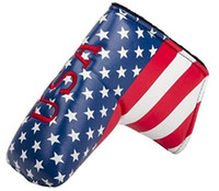 golf head cover groihandel-Golfputter head USA Flagge Stickerei Golfstange Schutzabdeckung
