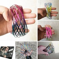 Wholesale wholesale science supplies - Colorful Flow Toys Arm Slinkey Toy Flow Rings Kinetic Spring Bracelet Science Educational Sensory Interactive Cool Toys Gifts HH7-457