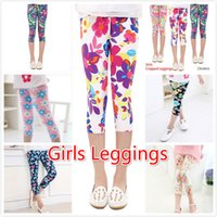 Wholesale sports baby clothes online - 16 Styles Length Girls Leggings Summer Floral Print Silky Sport Yoga Pants Baby Girls Trousers Children Skinny Xmas Pants Kids Clothing