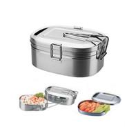 çelik kase seti toptan satış-Paslanmaz Çelik Bento Öğle Yemeği Kutusu Gıda Konteyner Gıda Kutusu Taşınabilir Lunchbox mutfak dikdörtgen Tek / çift Çanaklar