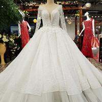 loja de roupas de noiva de renda branca venda por atacado-Vestido de noiva branco com flores de renda longa de trem de transporte rápido da China Loja Online Atacadistas Get Discount