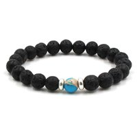 Wholesale Elastic Bracelet String - 10 colors Natural Black Lava Stone Beads Elastic Bracelet Essential Oil Diffuser Bracelet Volcanic Rock Beaded Hand Strings brads bracelets