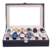 uhrenvitrine ansehen 12 slots großhandel-Uhrenbox 12 Slot Leder Vitrinenschrank Top Glas Schmuck Aufbewahrung Schwarz 8.30
