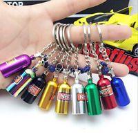 Wholesale Unique Car Keys - NOS Turbo Nitrogen Bottle Metal Key Chain Key Ring Holder Car Keychain Pendant Jewelry for Women Men Unique Mini Keyring