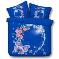 quilt cover king blau großhandel-3D-Blumen-Bettwäsche-Sets blau Bettwäsche Schmetterling Kissen Decke Abdeckung Bettwäsche Quilt HUSSEN Bettkissenbezüge für Damen Frauen