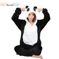 Wholesale woman s christmas pajamas - Panda Pajamas For Women Girls Boys Pink Pajama Flannel Adult Pajama One Piece pijamas Animal Christmas Unicorn Halloween