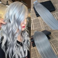 Wholesale pu process - Tape in Human Hair Extensions Sliver color Skin Weft Tape in Extensions Grey PU Straight Tape on Hair Extensions 100g 40pcs