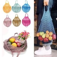 Discount shopping bags for vegetable - Mesh Net Shopping Bags Fruits Vegetable Portable Foldable Cotton String Reusable Turtle Bags Tote for Kitchen Sundries CCA10165 60pcs