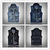 Wholesale wholesale sleeveless denim jackets for sale - Mens Black Denim Vest Waistcoats Motorcycle Biker Jackets Sleeveless Slim Fit Coat Outwear Ripped Tops DHL XL XL