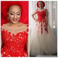elfenbein rotes hochzeitskleid großhandel-Rot Und Elfenbein Arabisch Brautkleider 2018 Spitze Appliques Eine Linie Brautkleider Sheer Neck Sleeveless Plus Size Frauen Hochzeit Vestidos