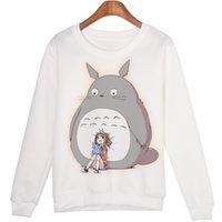 sudaderas totoro al por mayor-Cute Casual 3d Sudadera Mujer Ropa de invierno Cartoon Totoro Print Moleton Feminino Hoodies O -Neck Pullover Tops Envío gratis